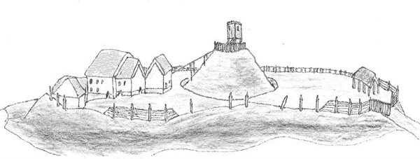 Diagram of a motte-and-bailey castle. (Credit)