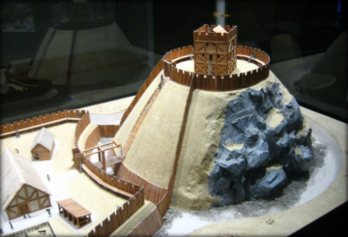 Model of a motte-and-bailey castle. (Credit)
